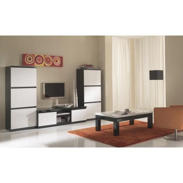 Ensemble 4 l ments laque noir blanc 2 colonnes meuble for Ensemble salle a manger noir et blanc