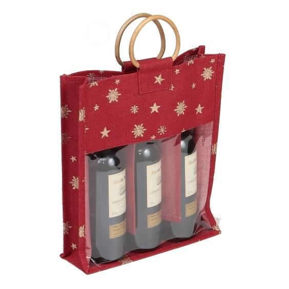 sac 3 bouteilles en toile de jute bordeaux et or grande fen 234 tre pvc transparente poign 233 es bois