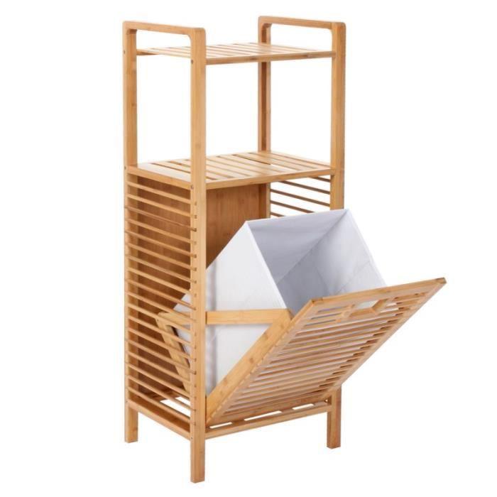 etag re meuble pour salle de bain en bambou avec panier linge 100x40x30cm sdb04019 achat. Black Bedroom Furniture Sets. Home Design Ideas