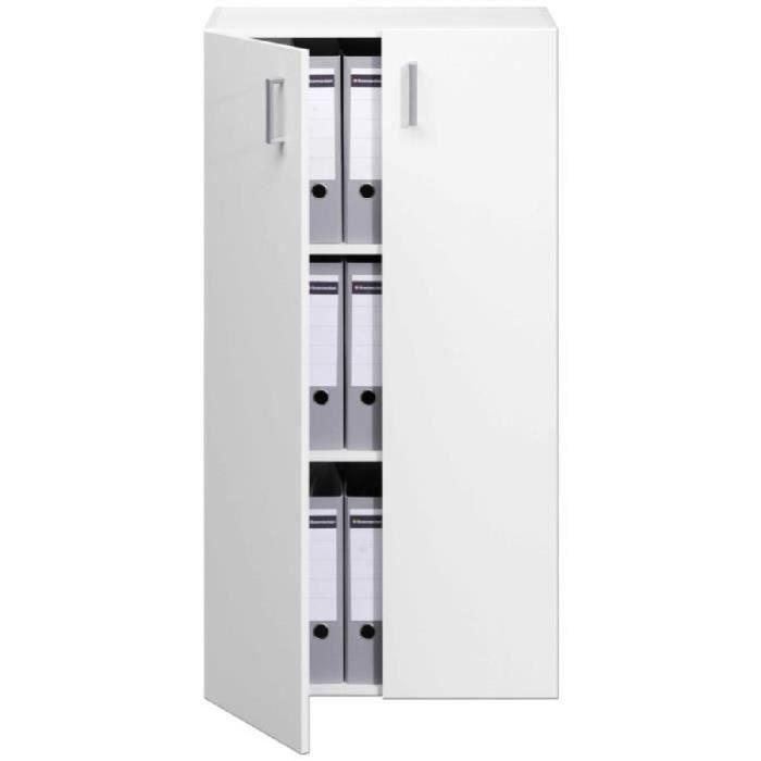armoire 2 portes 115 5cm blanc rangement meuble achat vente meuble classement armoire 2. Black Bedroom Furniture Sets. Home Design Ideas