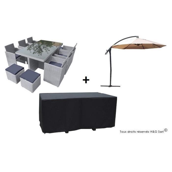 Salon de jardin encastrable en resine tressee grise 10 places avec housse avec parasol ecru for Housse salon de jardin resine tressee