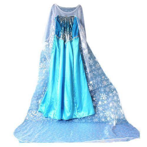 Robe elsa adulte la reine des neiges longue tra ne de 2m pour d guisement frozen personnage - Deguisement personnage disney adulte ...