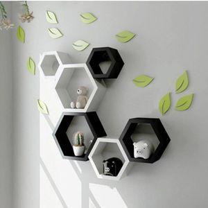 DÉCORATION DE TABLE 3 pièces étagères Cubes - Noir - Mode Étagère mura