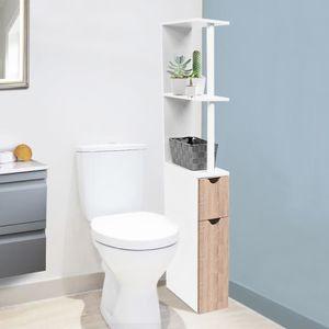 MEUBLE BAS COMMODE SDB Meuble WC étagère bois gain de place pour toilette