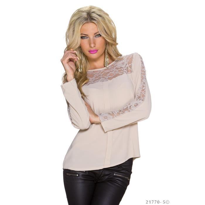 top blouse chemise chic elegant femme beige creme beige. Black Bedroom Furniture Sets. Home Design Ideas