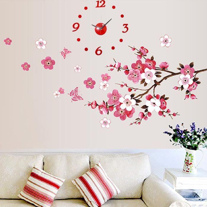 Horloge fleurs de cerisier bricolage papillon peach for Autocollant decoration murale