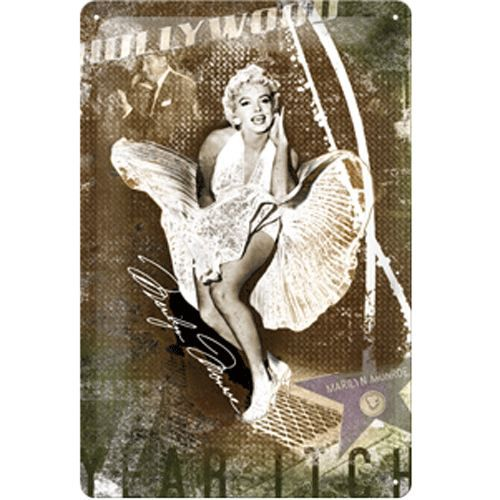 plaque m tal marilyn monroe hollywood achat vente. Black Bedroom Furniture Sets. Home Design Ideas