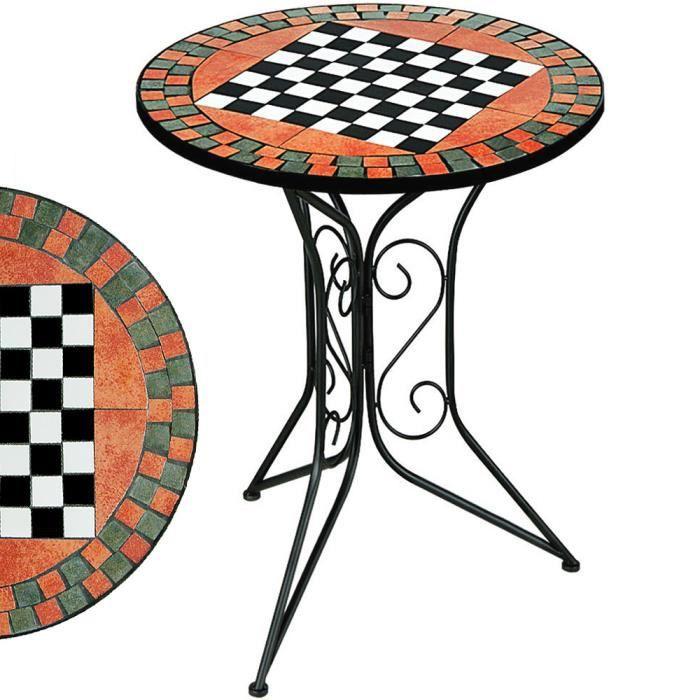 table gu ridon mosaique avec plateau jeu d 39 chec achat vente table de jardin table mosaique. Black Bedroom Furniture Sets. Home Design Ideas