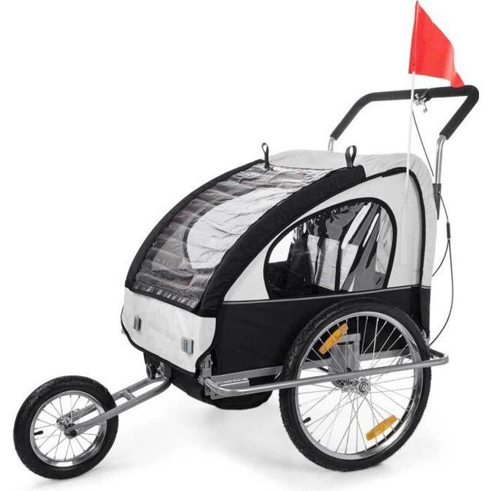convertible jogger remorque velo 2en1 jusqu 39 a 2 enfants amortisseur blanc noir prix pas cher. Black Bedroom Furniture Sets. Home Design Ideas