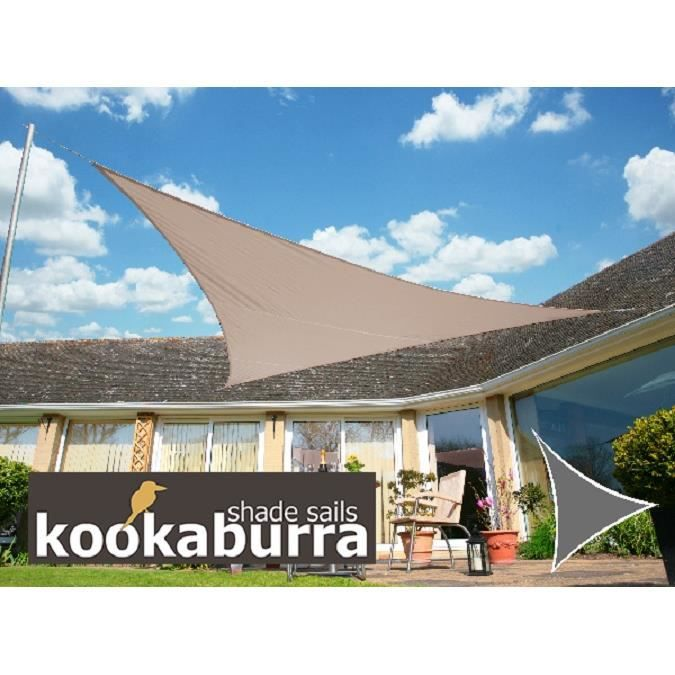 Kookaburra voile d 39 ombrage imperm able 6 0m 4 2m triangle rectangle taupe achat vente - Voile d ombrage triangle rectangle ...