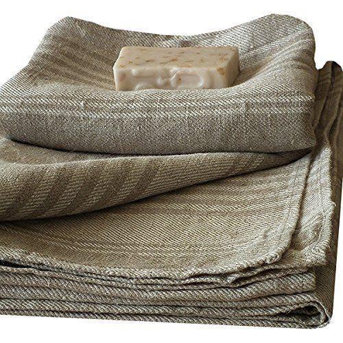 Serviette de bain linum en lin absorbant rayures for Linum linge de maison