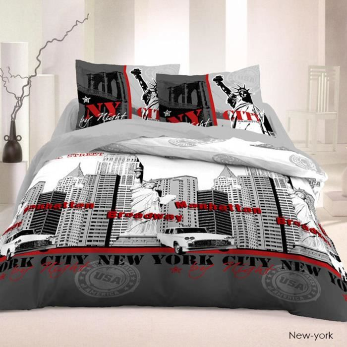 housse de couette ny by night 220x240cm 2 taies 100. Black Bedroom Furniture Sets. Home Design Ideas