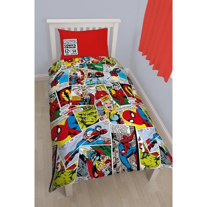 parure de lit spiderman justice league comics achat. Black Bedroom Furniture Sets. Home Design Ideas