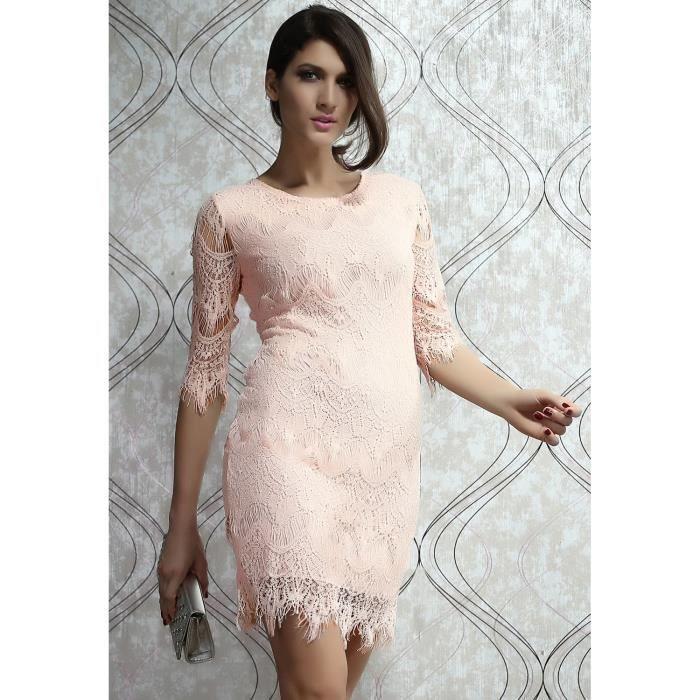 sexy robe rose boh me vintage dentelle soir e rose achat vente robe de c r monie cdiscount. Black Bedroom Furniture Sets. Home Design Ideas