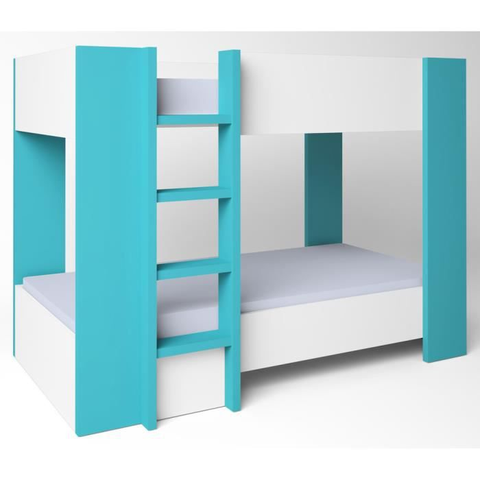 lit double pour enfant blanc turquoise l196 x h145 5 x. Black Bedroom Furniture Sets. Home Design Ideas