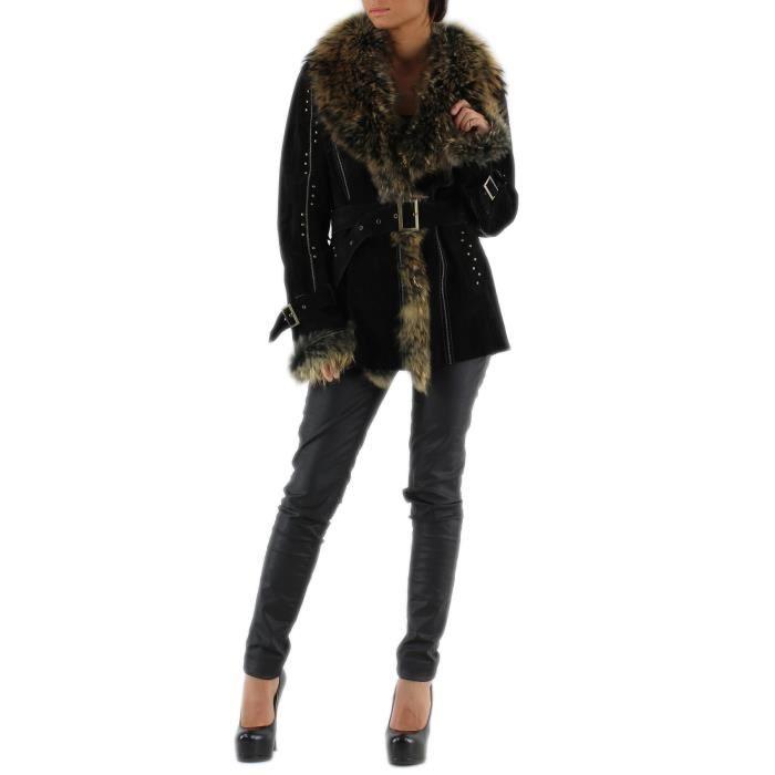 manteau femme en cuir de porc fourrure en renard achat. Black Bedroom Furniture Sets. Home Design Ideas