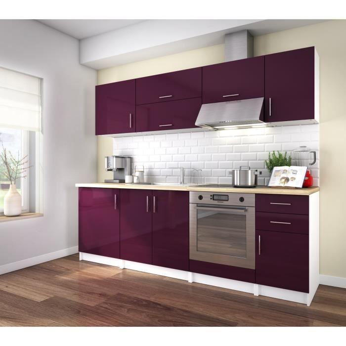 Corry 240 cuisine compl te 2m40 laqu aubergine brillant achat vente cuisine compl te for Cuisine complete violet