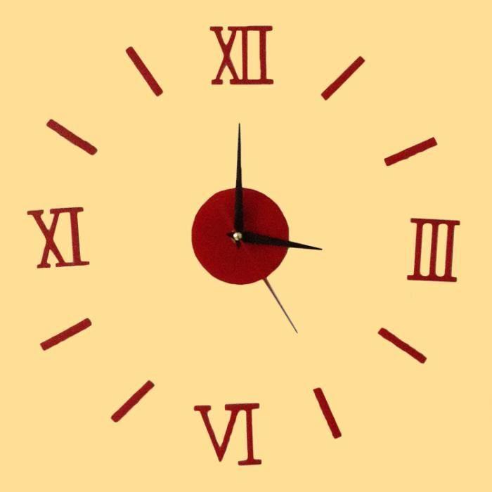 Horloge murale 3d effet mirroir chiffres romains simples for Horloge murale 3 cadrans