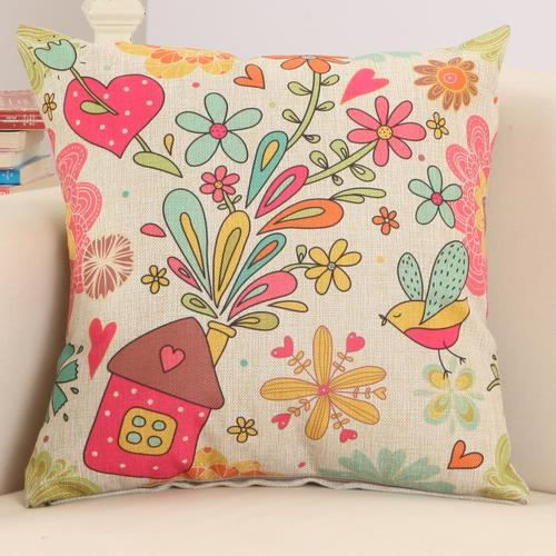 housses de coussin 45x45 cm motif d 39 fleur achat vente housse de coussin cdiscount. Black Bedroom Furniture Sets. Home Design Ideas