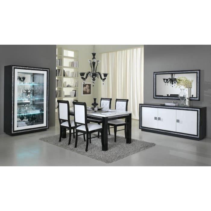 Prestige laque noire et blanche ensemble salle a manger for Miroir salle a manger pour bahut