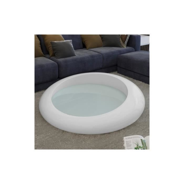 Table basse table de caf ronde blanche achat vente for Table basse blanche ronde