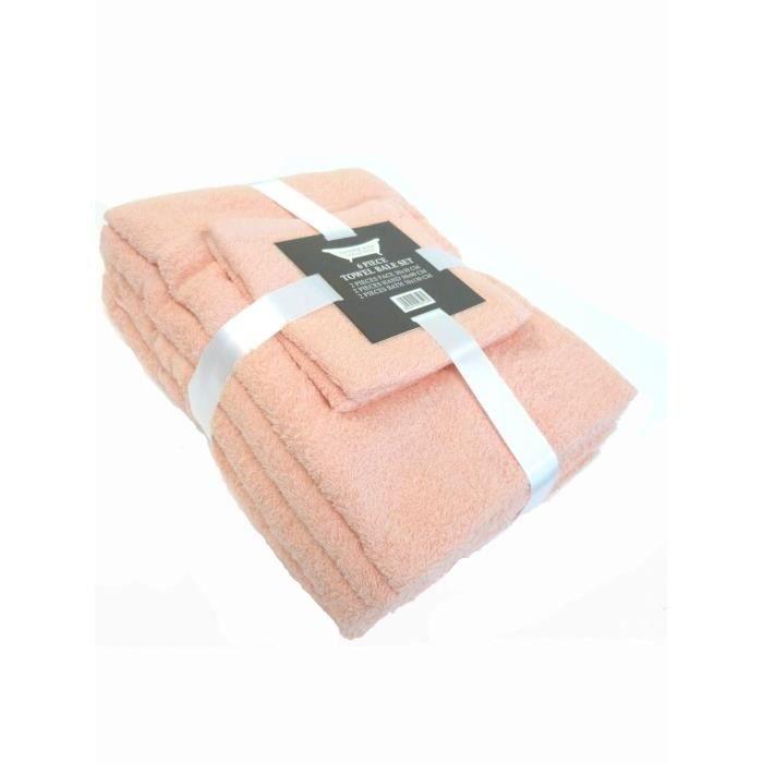 Ensemble 6 pieces serviette drap de bain achat vente serviettes de bain cdiscount - Serviette de bain carrefour ...