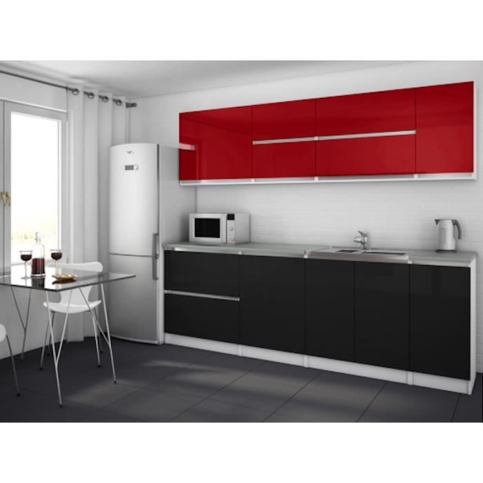 cuisine quip e noir et rouge. Black Bedroom Furniture Sets. Home Design Ideas