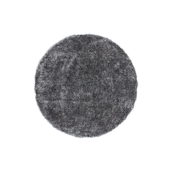 tapis shaggy uni gris 35 mm 160x160 cm rond achat. Black Bedroom Furniture Sets. Home Design Ideas