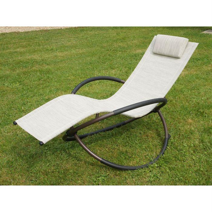 Bain de soleil swing beige achat vente chaise longue for Bain de soleil de jardin