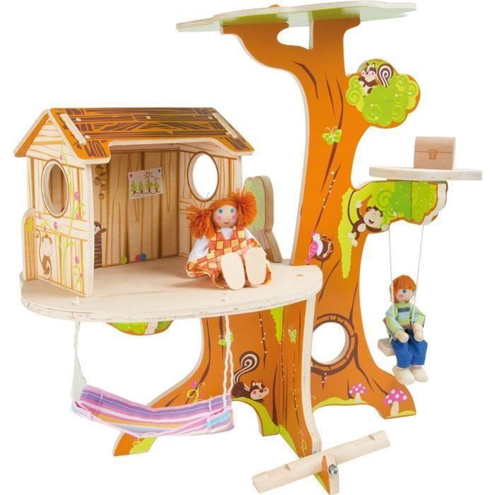 maison de poup e en bois cabane dans l 39 arbre avec poup es achat vente maison poup e cdiscount. Black Bedroom Furniture Sets. Home Design Ideas