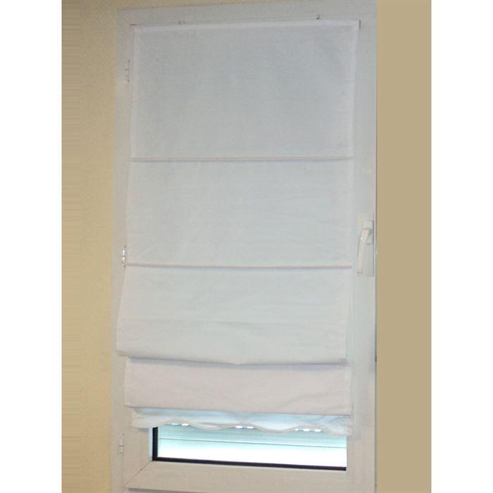 Store tissus vague blanc 90x200 cm achat vente store for Store tissus fenetre