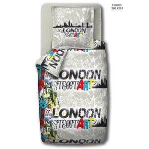housse de couette london coton 200 200 achat vente. Black Bedroom Furniture Sets. Home Design Ideas