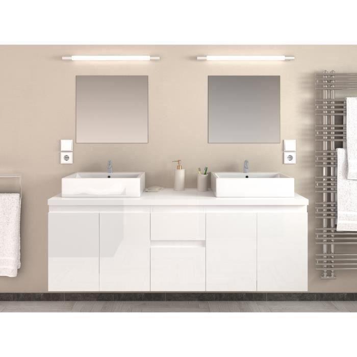 Cina ensemble double vasque 150 cm laqu blanc achat for Prix salle de bain complete