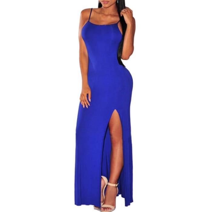 robe longue femme sexy robe bretelle d t sans manches jupe fendue nu dos bleu lastique bleu. Black Bedroom Furniture Sets. Home Design Ideas