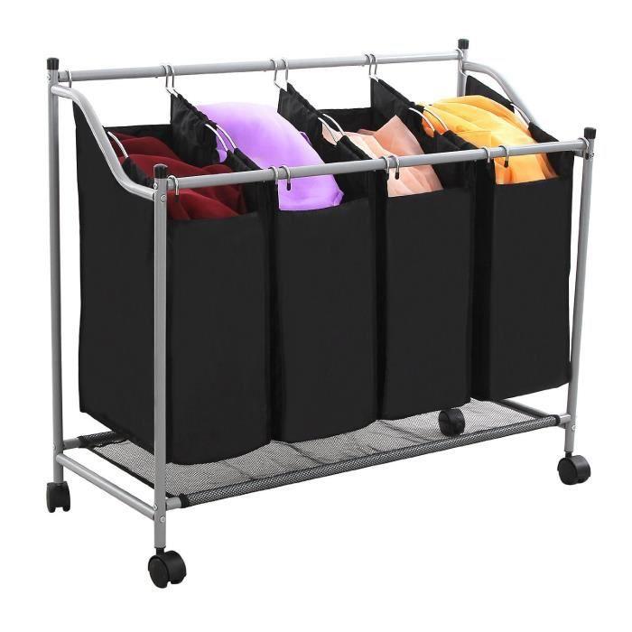 chariot linge en cadre m tal avec 4 sacs et 4 roulettes porte v tement pour h tel laverie. Black Bedroom Furniture Sets. Home Design Ideas