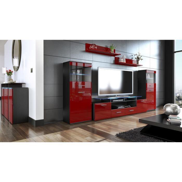 Ensemble de 3 meubles tv noir et bordeaux achat vente for Meubles bordeaux