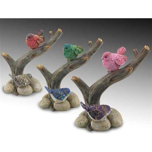 Objet decoratif x 3 oiseaux sur branche 16 cm achat for Objet decoratifs