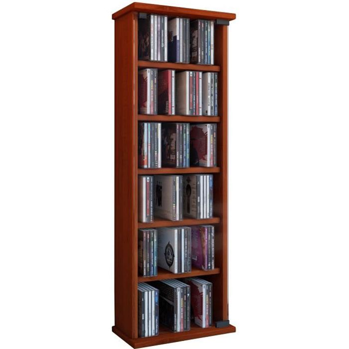 Vetro commode tour rangement biblioth que cd dvd 150 cd cerisier achat ve - Commode bibliotheque meuble ...