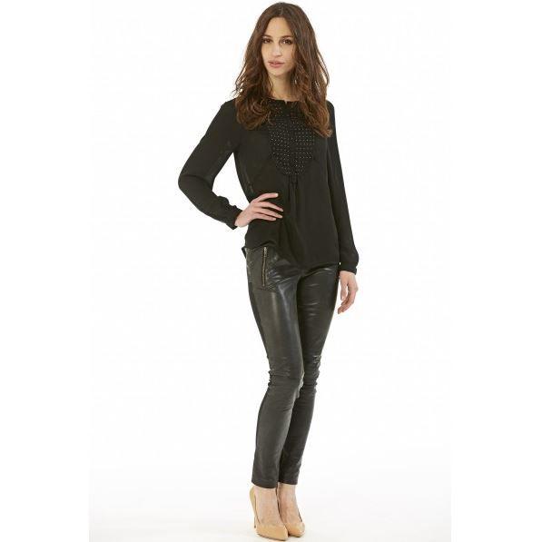 pantalon en cuir et stretch gior noir achat vente pantalon cdiscount. Black Bedroom Furniture Sets. Home Design Ideas