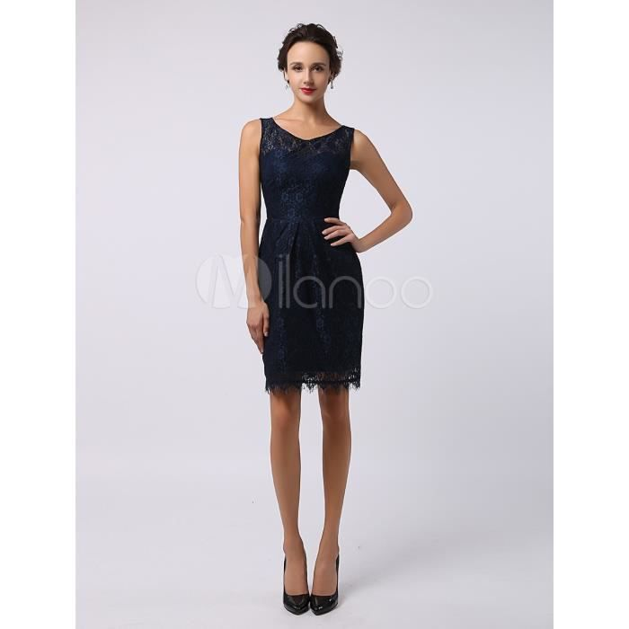 robe chic demoiselle d 39 honneur fourreau bleu marine fonc dentelle bleu achat vente robe de. Black Bedroom Furniture Sets. Home Design Ideas