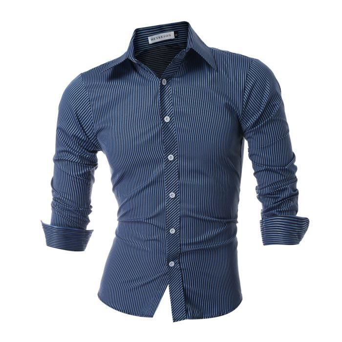 hommes chemise 2017 hommes marque homme chemise ray e hommes long sleeved chemise casual slim. Black Bedroom Furniture Sets. Home Design Ideas