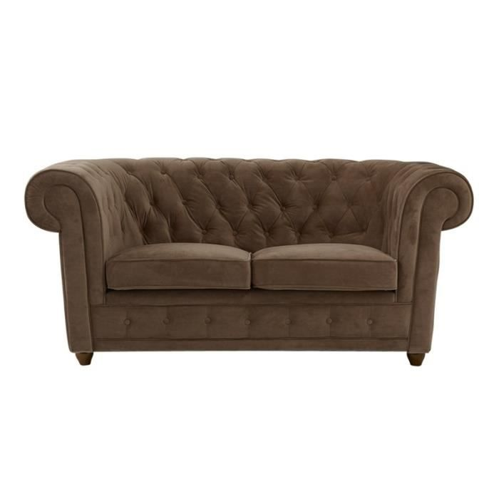 Canap chesterfield 2 places en velours taupe achat vente canap sofa - Canape chesterfield en velours ...