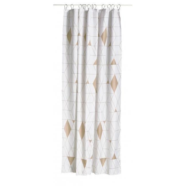 Rideau de douche en polyester arlequin beige et blanc for Rideau de douche original