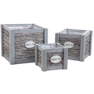 cache pot en bois achat vente cache pot en bois pas cher soldes cdiscount. Black Bedroom Furniture Sets. Home Design Ideas