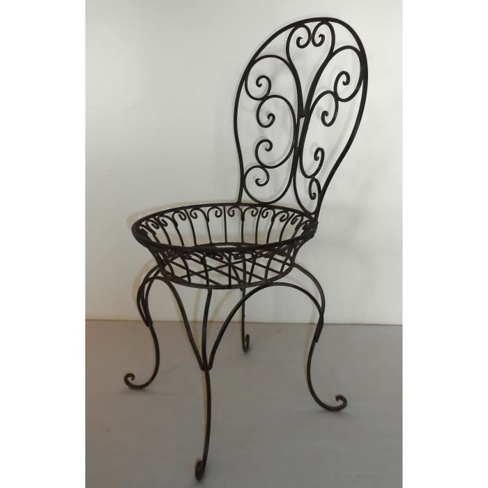 Porte plante chaise de jardin en fer forg marron achat for Porte de jardin en fer forge