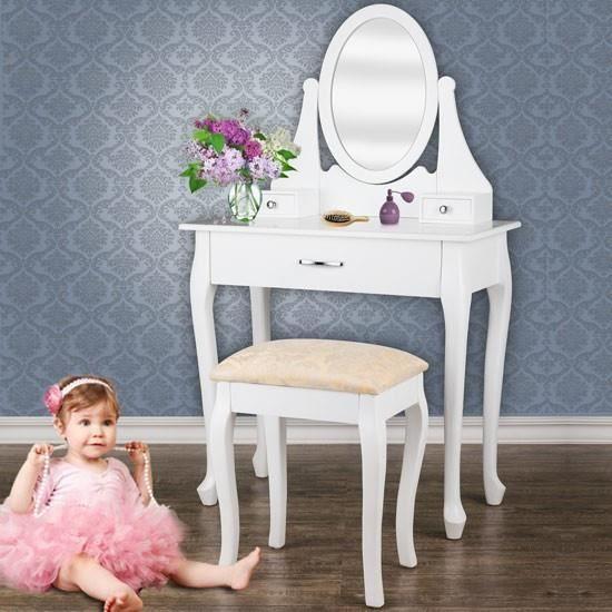coiffeuse blanche avec 3 tiroirs miroir et tabou achat. Black Bedroom Furniture Sets. Home Design Ideas