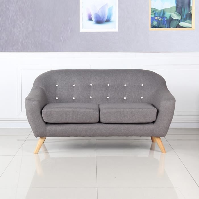canap scandinave 2 places gris ystad achat vente banquette soldes cdiscount. Black Bedroom Furniture Sets. Home Design Ideas