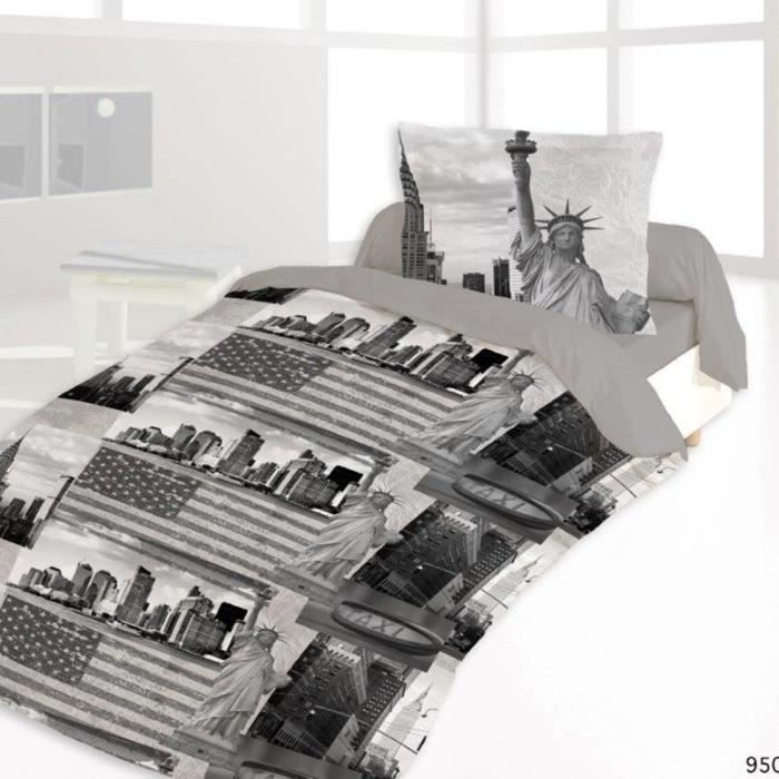 housse de couette 140x200 new york sightseeing 1 achat. Black Bedroom Furniture Sets. Home Design Ideas