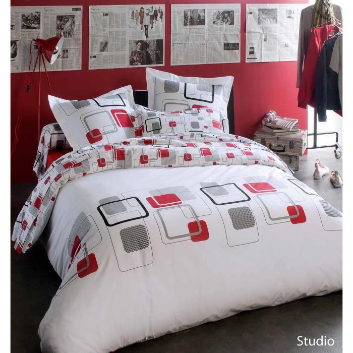 Housse de couette studio imprim s design blanc 140 x 200 - Housse de couette grise et rouge ...