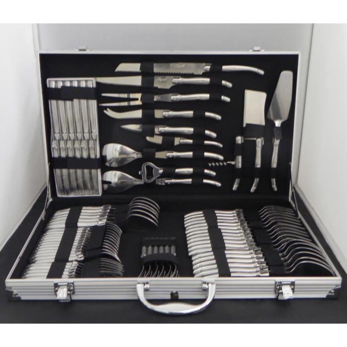 laguiole m nag re 72 pces inox en valise m tal achat. Black Bedroom Furniture Sets. Home Design Ideas